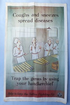 "Antique WW2 British Propaganda Poster – ""Coughs and Sneezes Spread Diseases"" #1"