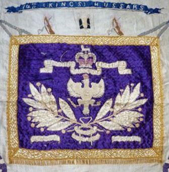 Antique 19th Century British Army 14th Hussars Regimental Embroidery