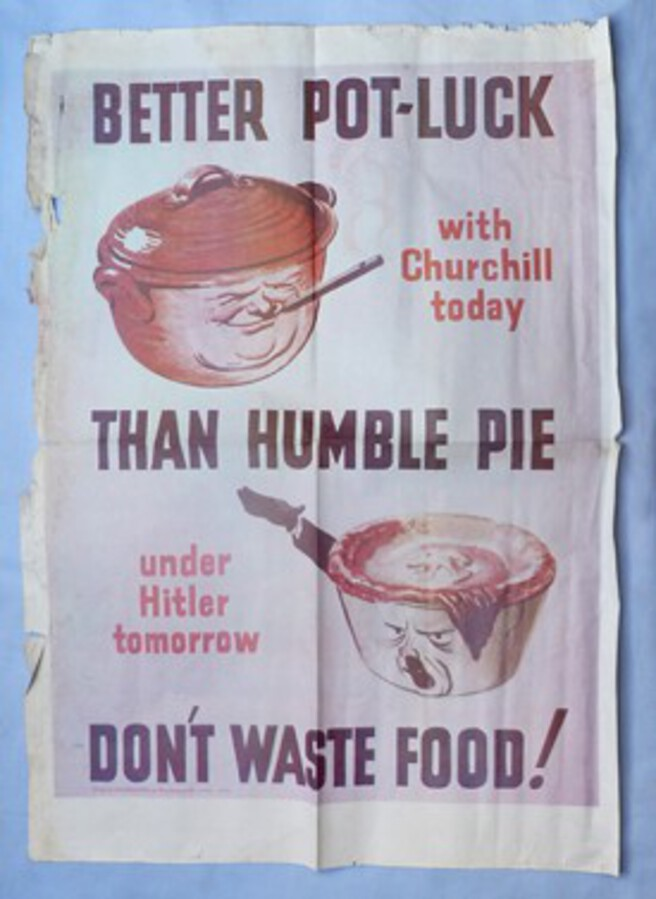 "WW2 British Propaganda Poster – ""Better Pot Luck than Humble Pie – Don't Waste Food!"" #2"