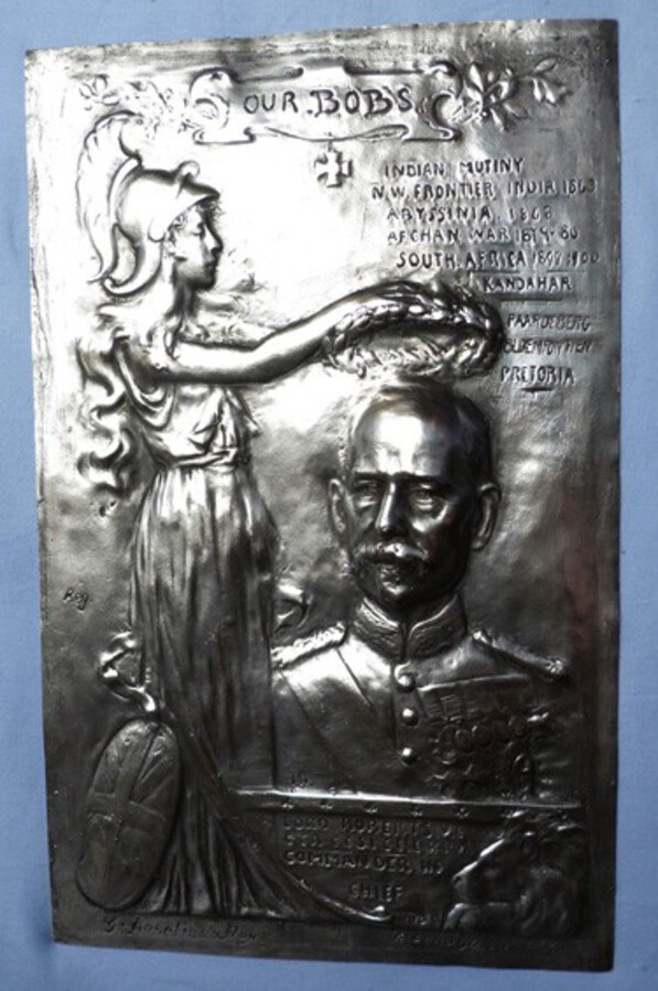 Original C.1900's British Army Field Marshal Lord Roberts Solid Silver Plaque