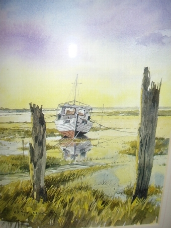 Antique FIRST SIGNED COPY PRINT OF THORNHAM HARBOUR NORFOLK  BY ARTIST A.E.HARRISON AFTER HIS ORIGINAL WATERCOLOUR PAINTING  H14.5  x  W12.5  INCHES