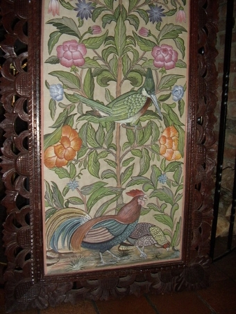 Antique LARGE ANTIQUE HAND PAINTED SILK WALL SCREEN IN MAHOGANY CARVED FRAME and DECORATED WITH FLORREL FORNA and TROPICAL BIRDS UNDER GLASS
