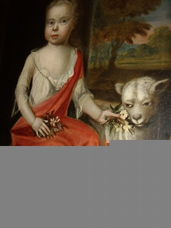 Antique 17TH CENTURY PORTRAIT OF YOUNG GIRL WITH LAMB