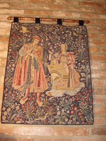 Antique TAPESTRY OF ELIZABETHAN SCENE DEPICTING MUSCICIANS PLAYING A FLUTE & STRINGS  33 X 24 INCHES