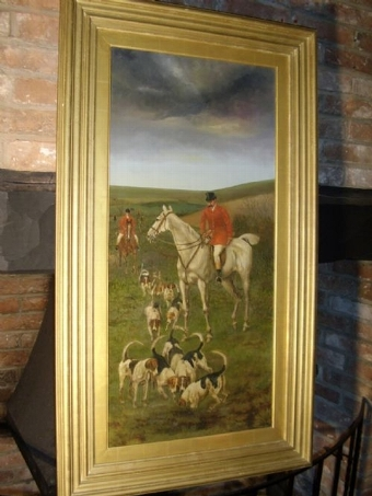 Antique 19TH CENTURY HUNT & HOUNDS IN PROGRESS / OIL ON CANVAS SIGNED JAMES CECIL BENETT C1882 25.5 X 44.5 INCHES