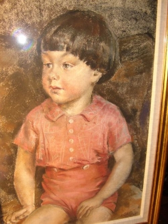 Antique EXCEPTIONAL PASTEL & GAUCHE PORTRAIT OF A YOUNG BOY SITTING BY ARTIST J.A.GRANT 27.5 X 20 INCHES