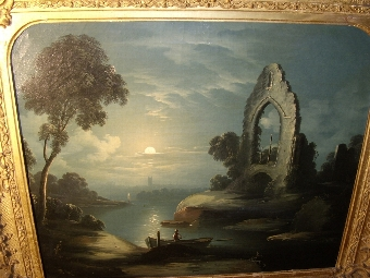Antique 19TH CENTURY OIL PAINTING OF MOONLIT STUDY STUDIO OF ARTIST ABRAHAM PETHER B1756-D1812 PRESENTED IN DECORATIVE GILT FRAME 32 X 28 INCHES