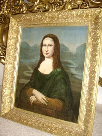 Antique 18TH CENTURY MONA LISA OLD MASTER PORTRAIT PAINTING OIL ON CANVAS EUROPEAN SCHOOL IN OAK HAND CRAFTED EARLY HEAVY FRAME 24 X 27.75 INCHES OVERALL