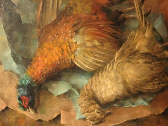 Antique OIL PAINTING OF A BRACE OF DEAD PHEASANTS LAID OUT ON BROWN PAPER 34.5 X 30.5 INCHES