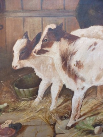 Antique OIL PAINTING OF FARM ANIMALS IN A BARN TITLED BEST OF FRIENDS BY ARTIST M.HERIOT C1922 SIZE 42 X 26 INCHES
