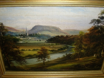 Antique 19TH CENTURY OIL PAINTING OF THE RIVER WYE IN ROSS HERTFORDSHIRE BY ARTIST GEORGE WILLIS PRYCE C1890