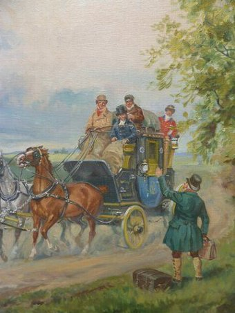 Antique Oil Painting Stage Coach & Horses By Eugun Laluff