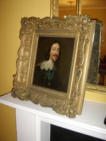 Antique 17THC PORTRAIT OF KING CHARLES 1ST AFTER VAN DYCK (1599-1641)IN LATER FRAME