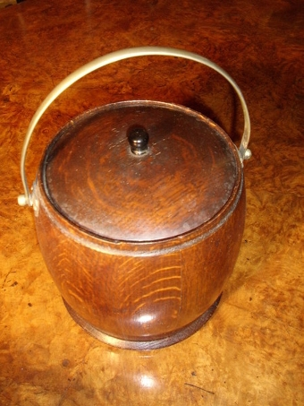 Antique OAK BISCUIT BARREL WITH PORCELAIN LINER