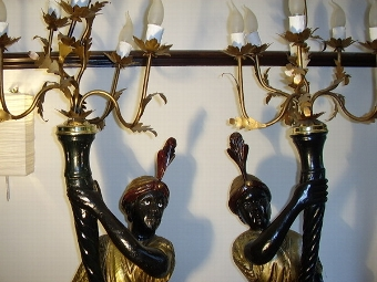 Antique ANTIQUE PAIR OF  BLACKAMOOR CANDLEARBRA TORCHERES