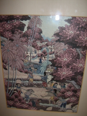Antique BALANESE WATERCOLOUR & INK DRAWING UNDER GLASS DEPICTING RURAL VILLAGE LIFE