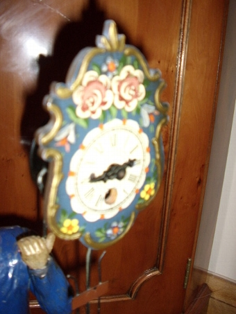 Antique SPHELTER PAINTED ANTIQUE FIGURINE NOVALTY CLOCK