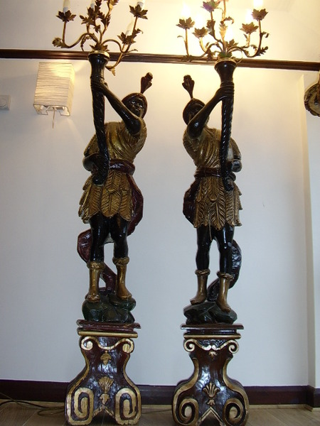 ANTIQUE PAIR OF  BLACKAMOOR CANDLEARBRA TORCHERES