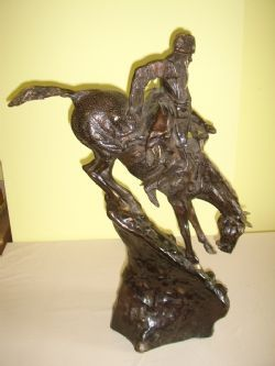 Antique BRONZE SCULPTURE OF SIOUX WARRIER ON HORSEBACK AFTER REMINGHTON C1920