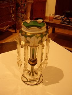 BOHEMIAN GREEN GLASS GILT & PORCELAIN ENAMELLED TABLE LUSTRE WITH CUT GLASS DROPPERS C1860-80