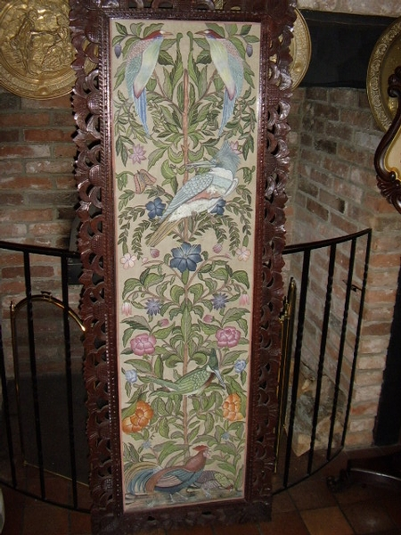 LARGE ANTIQUE HAND PAINTED SILK WALL SCREEN IN MAHOGANY CARVED FRAME and DECORATED WITH FLORREL FORNA and TROPICAL BIRDS UNDER GLASS