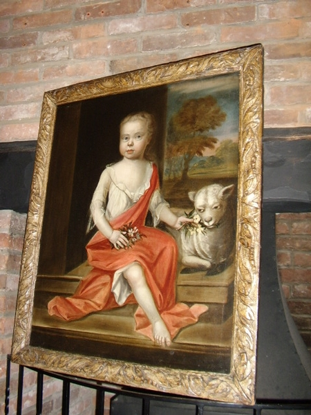 17TH CENTURY PORTRAIT OF YOUNG GIRL WITH LAMB
