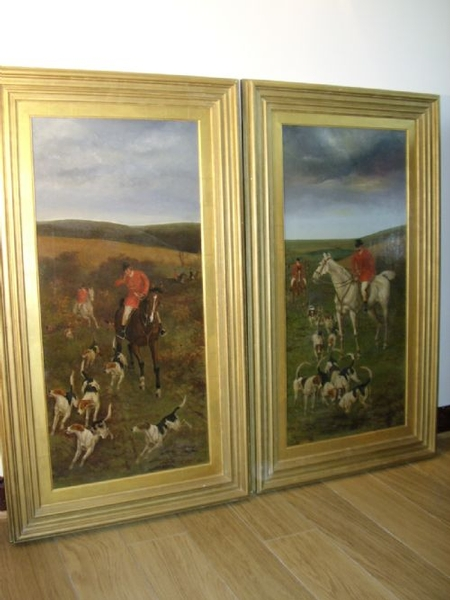 19TH CENTURY HUNT & HOUNDS IN PROGRESS / OIL ON CANVAS SIGNED JAMES CECIL BENETT C1882 25.5 X 44.5 INCHES