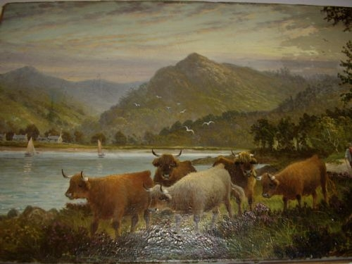 OIL PAINTING ON CANVAS OF HIGHLAND CATTLE GLENCLOY ISLE OF ARRAN BRODICK SCOTLAND C1897