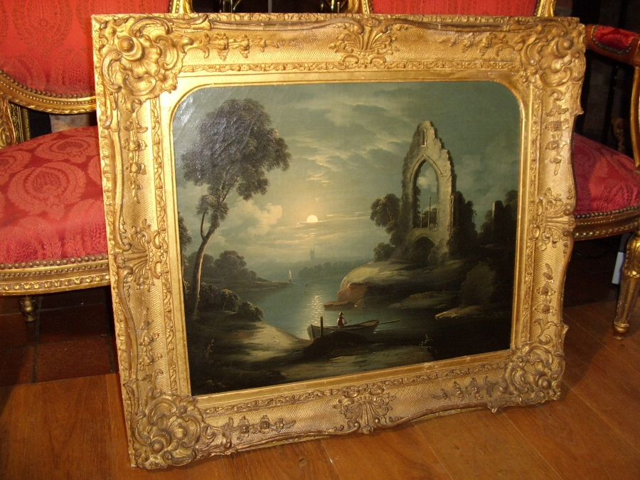 19TH CENTURY OIL PAINTING OF MOONLIT STUDY STUDIO OF ARTIST ABRAHAM PETHER B1756-D1812 PRESENTED IN DECORATIVE GILT FRAME 32 X 28 INCHES