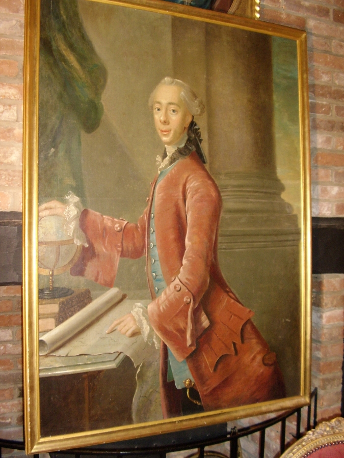 OIL PORTRAIT PAINTING OF A DANISH NOBLEMAN BY ARTIST JOHAN HORNER (1711-1763) MID 18TH CENTURY EUROPEAN SCHOOL C1750 APPROX & FRAMED SIZE 56.5 X 41.5 INCHES