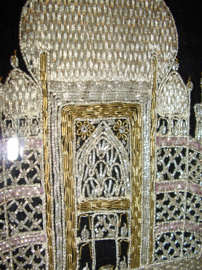 Antique TAJ MAHAL HAND SEWN EMBROIDERY IN GOLD & SILVER