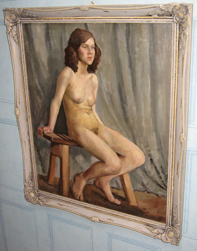 OIL PORTRAIT PAINTING STUDY ON CANVAS OF NUDE GIRL SITTING ON STOOL IN A RELAXED POSE CIRCA 1910-...