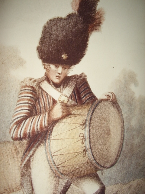 Antique 19th Century Chromo-Lithograph of a Drummer