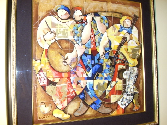LEVI DORIT EMBELLISHED LTD EDITION SERIGRAPH TITLED TRIO FRAMED SIZE 35.5 X 35.5 INCHES