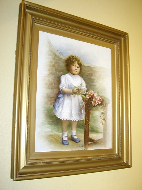 QUALITY OIL PORTRAIT ON ARTISTS BOARD OF YOUNG GIRL POSING WHILST HOLDING FLOWERS PAINTED & SIGNE...