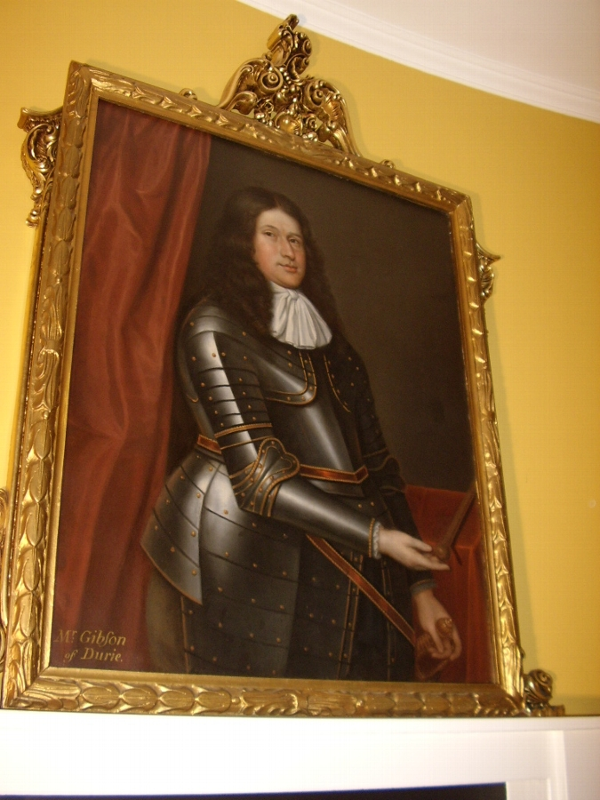 FINE LATE 17TH CENTURY OIL PORTRAIT PAINTING OF MR. GIBSON OF DURIE WEARING HIS FULL SUIT OF ARMO...