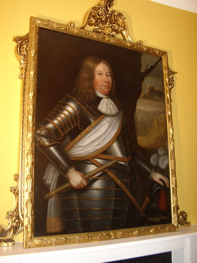 FINE LATE 17TH CENTURY OIL PORTRAIT PAINTING OF DAVID 2nd.EARL WEMYSS WEARING HIS FULL SUIT OF AR...