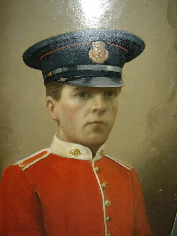 OIL PORTRAIT ON TIN OF BRITISH MILITARY OFFICER IN HIS REDCOAT TUNIC PRESERVED UNDER GLASS IN MAH...