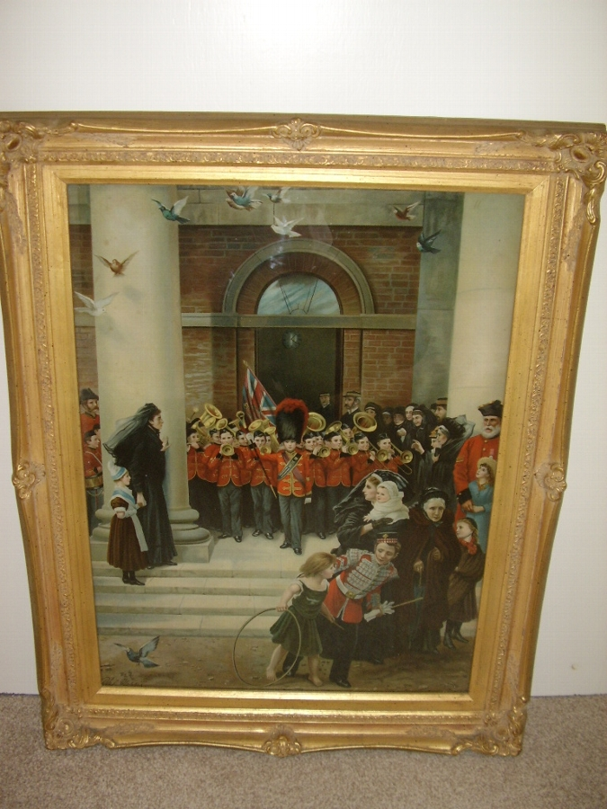 VICTORIAN COLOURED PRINT UNDER GLASS OF A CHILDRENS BRASS BAND PLAYING TO MOURNERS ON THE STEPS OF THE TOWNHALL C1850  29 X 23 INCHES