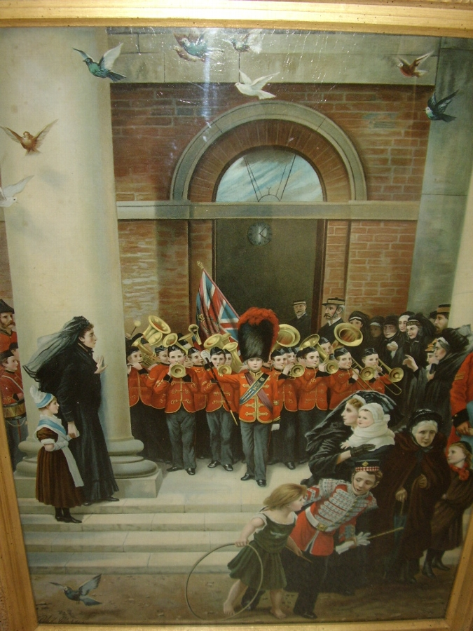 Antique VICTORIAN COLOURED PRINT UNDER GLASS OF A CHILDRENS BRASS BAND PLAYING TO MOURNERS ON THE STEPS OF THE TOWNHALL C1850  29 X 23 INCHES