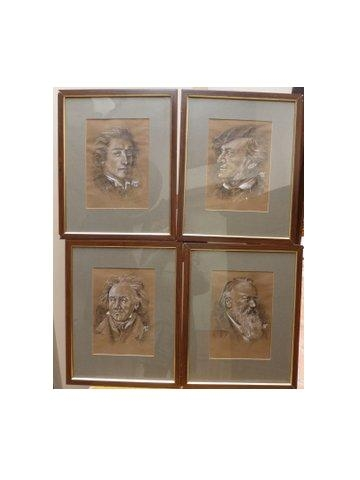 SET OF FOUR QUALITY ORIGINAL PEN INK & GOUACHE SKETCHES OF FAMOUS MUSIC COMPOSERS INCLUDING CHOPI...