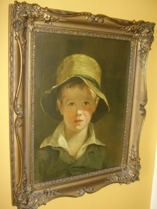 MEDICI PRINT OF YOUNG BOY IN STRAW HAT TITLED THE TORN HAT AFTER THE ORIGINAL OIL PAINTING BY THO...