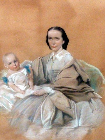 PASTEL & GOUACHE VICTORIAN PORTRAIT PAINTING OF MOTHER HOLDING YOUNG CHILD BY ARTIST JOSIAH GILBE...