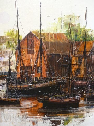 LARGE QUALITY ORIGINAL OIL PAINTING ON CANVAS OF HARBOUR WITH VESSELS MOORED BY ARTIST KEVIN PLATT FRAMED SIZE 47 X 25 INCHES