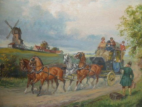 Oil Painting Stage Coach & Horses By Eugun Laluff