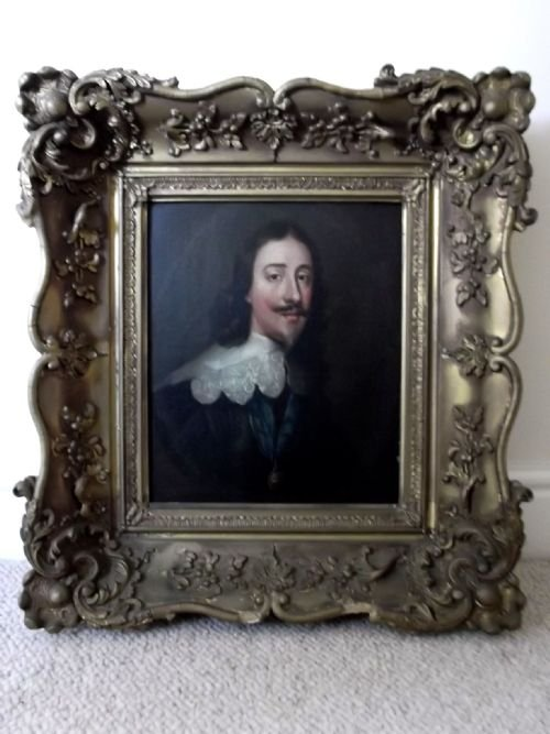 17THC PORTRAIT OF KING CHARLES 1ST AFTER VAN DYCK (1599-1641)IN LATER FRAME