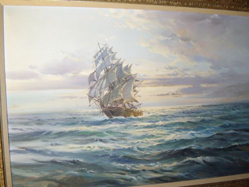 Antique WILFRED KNOX OIL PAINTING OF TEA CLIPPER IN FULL SALE 30 X 42 INCHES