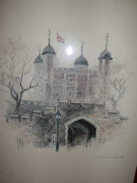 Antique QUALITY PRINT OF TOWER OF LONDON AFTER ORIGINAL PENCIL DRAWING 11 X 15 INCHES