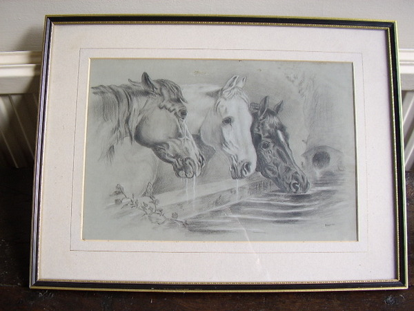 PROFESSIONAL PENCIL DRAWING OF THREE HORSES DRINKING AT TROUGH SIGNED P.STAFFORD