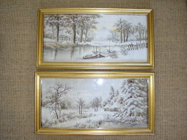 QUALITY PAIR OF SILK HAND EMBROIDERED WINTER  LANDSCAPE PICTURES